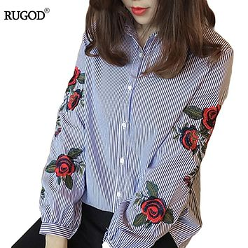Rugod 2017 Spring Shirts Women Turn-Down Long Sleeve Flower Embroidery Single-Breasted Blouses Lady Fashion Loose Tops Blusas