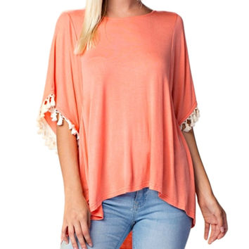 High Low Hem Tassel Dolman Tunic