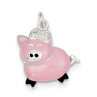 CZ Pink Enameled Polished Pig Charm in Sterling Silver