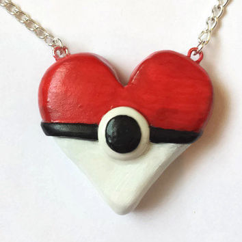 Heart Pokemon Pokeball Necklace, I choose you jewelry, Japanese Accessories, Polymer Clay Pokemon, Gotta catch'em all, Heart Pokeball