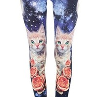 CAT AND ROSE GALAXY PRINTED LEGGGINGS