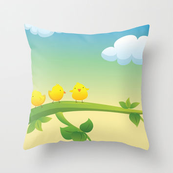 Little Feathered Friends Throw Pillow by Texnotropio