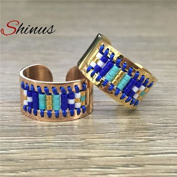Shinus Rings Women Love Ring Men Bague Jewelry Miyuki Seed Beads Handmade Pattern Stainless Steel 2018 Anillos Anel Bijoux Femme