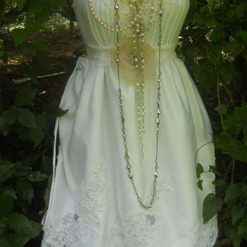 White wedding dress tiered beaded vintage rose by vintageopulence