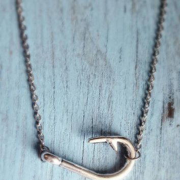 Fish Hook Charm Necklace (Horizontal or Vertical)