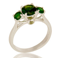 925 Sterling Silver Chrome Diopside And Peridot Prong Set Three Stone Ring