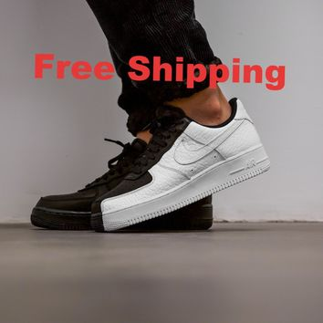 [ Free Shipping]Nike Air Force One 1 Low '07 PRM Split Black/White Scarface 905345 004 Running Sneakers