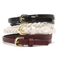 With Love From CA 3 Pack Skinny Cross Belts at PacSun.com