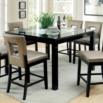 Furniture of america CM3320PT 7 pc evant ii contemporary style black high gloss finish wood counter height dining table set with mirrored tempered glass top