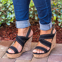 Strappy Cork Wedge Sandals - Black