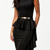 Black Sleeveless Ruffled Bodycon Dress
