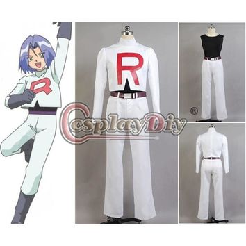 Custom Made  Team Rocket James Cosplay Costume Outfit For Adult Men Halloween Party Game Cosplay CostumeKawaii Pokemon go  AT_89_9
