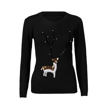 2017 New Style Casual Sweaters for Women Christmas Deer Pearl Sequins Long Sleeve Jumper Knitted Wool Sweaters in Five Colour