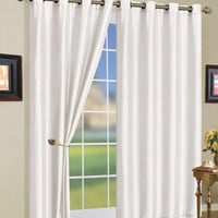 "5 Colors- Mira Grommet Window Curtain Panels 58x108"" Color: White"