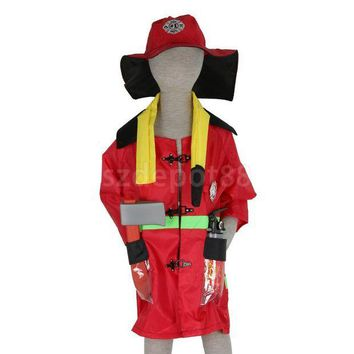 DCCKH6B Kids Halloween Party Firefighter Fireman Costume Fancy Dress Role Play Toys