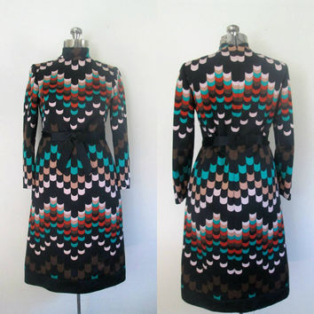 1970s Designer Abstract Art Dress // Adele Simpson Colorful Knee Length Frock