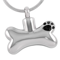 Dog Bone Paw Print Pet Cremation Pendant Necklace