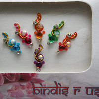 7 Original Handcrafted Indian Bindis for Face & Eyebrow Makeup.