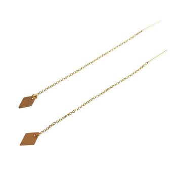 Diamond Charm Threader Earrings in 14K Gold Fill