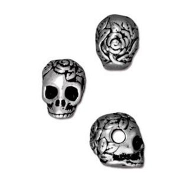 94-5715-12 - TierraCast Large Hole Pewter Skull Bead, Antique Silver | Pkg 2