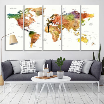12292 - Large Wall Art World Map Canvas Print- Custom World Map Push Pin Wall Art- Custom World Map Canvas Poster Print- Personalized Wall Art