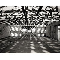 Geometric Warehouse, Black and White Wall Art Print - Many Sizes