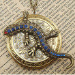 Steampunk Lizard Locket Necklace Vintage Style by sallydesign