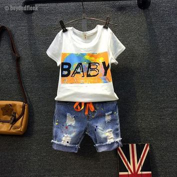 2018 New Fashion Summer Letter T-shirt+Ripped Jeans Pant Boys Sets 2-7Y
