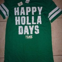 "VICTORIAS SECRET PINK BLING XMAS""HAPPY HOLLA DAYS""""PINK"" SCOOPNECK/CREW TEE NWT"