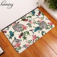 Homing New Arrive 40*60cm Thin Soft Entrance Door Mats Floral Skull Pattern Carpets Water Absorption Living Room Rugs Home Decor