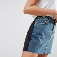 ASOS Denim Mini Skirt in Contrast Wash at asos.com