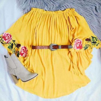 Lemon Yellow Flower Embroidery Flare Sleeve Mini Dress