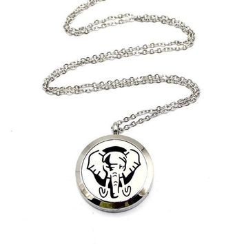 Elephant Stainless Steel Diffuser Necklace with Pads