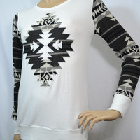 Vocal Snowflake Aztec Rhinestones LS Knit Top