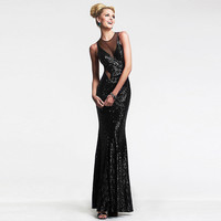 Black Sequined Backless Mesh Cut-out Maxi Fish Tail Dress