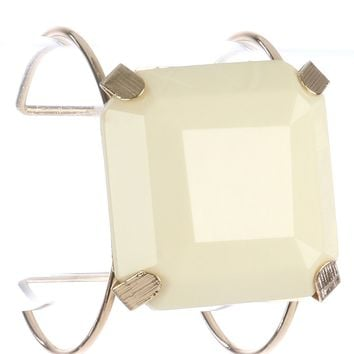 Ivory Cushion Cut Lucite Stone Metal Wire Cuff Bracelet