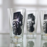 TLR camera screen printed glasses set of 4 pint glasses by vital