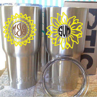 Sunflower decal, Sunflower monogram, RTIC cup decal, Yellow flower