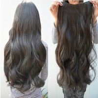 Gorgeous Long Curly Clip on Hair Extensions Beauty Black Wavy 5 Clips Hairpiece