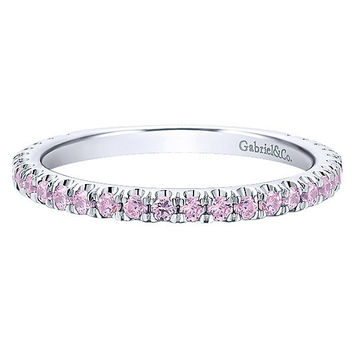 14K White Gold Created Pink Tourmaline Stackable Birthstone Ring