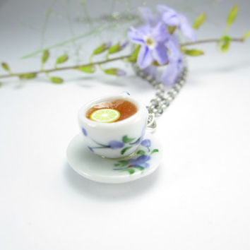 Dark Tea Painted Teacup Necklace - Food Jewelry
