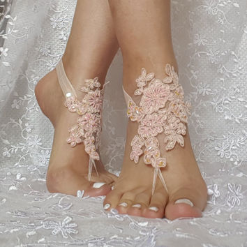 Blush beaded lace barefoot sandal wedding shoe