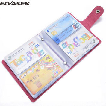 Elvasek hot 60 slots women credit card holder pu leather buckle large capacity business ID holders organizer bolsas LS7473