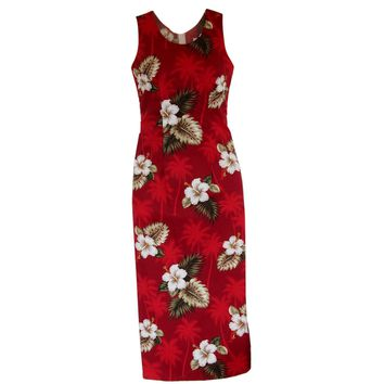 Lava Red Long Hawaiian Tank Dress
