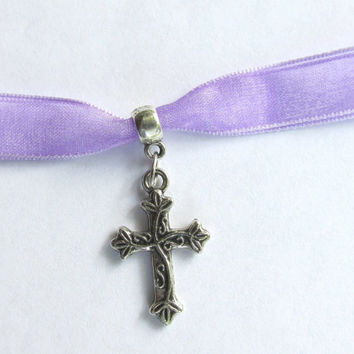 Reversible Cross Choker, Lavender Organza, Christian Cross Necklace, Religious Jewelry,  Antique Silver Cross, Faith Necklace, Jesus Cross