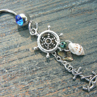 anchor nautical belly ring anchor ships wheel abalone seashells in beach boho gypsy hippie belly dancer beach hipster and fantasy style