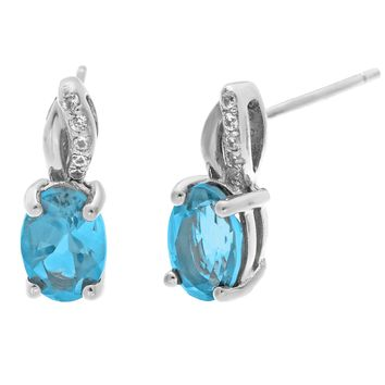 1.00 Ct Oval Blue Topaz .05 cttw Diamond Sterling Silver Birthstone Earrings