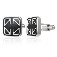 Mens Jewelry Stainless Steel Cufflinks Silver Black Design Dressy Cuff Links New