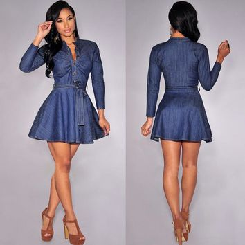 Peplum Denim Dress