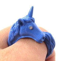 Large Detailed Unicorn Animal Wrap Around Ring in Violet Blue | Size 5 to 8